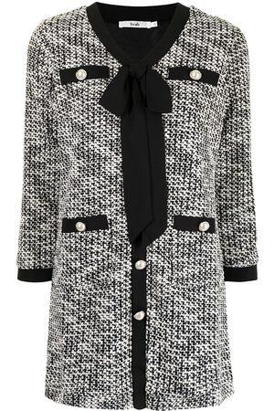 b+ab Bouclé-style tie-neck shift mini dress