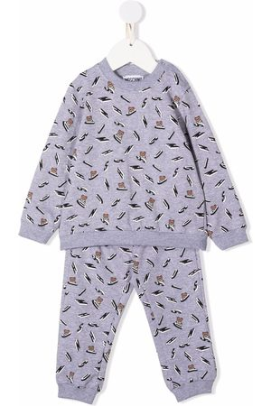 Moschino Kids Tracksuits - All-over logo print tracksuit - Grey