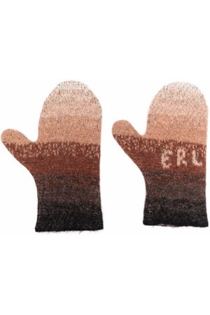 ERL Men Gloves - Logo-knit striped mittens