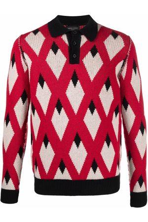 Roberto Collina Men Polo Shirts - Argyle-knit polo shirt