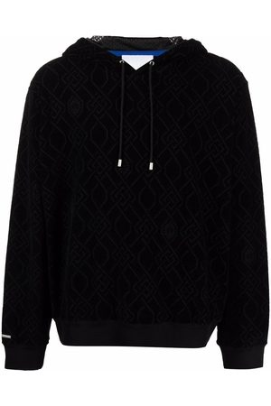 KOCHÉ Jacquard-logo drawstring hoodie