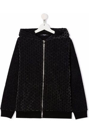 Balmain Kids Bomber Jackets - TEEN monogram-pattern velvet-effect jacket