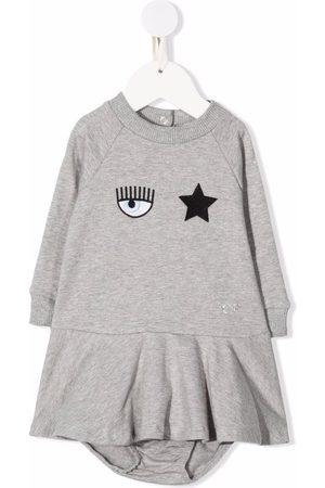 Chiara Ferragni Kids Logo-patch sweater dress - Grey