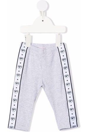 Chiara Ferragni Kids Sports Pants - Logo-tape detail tracksuit bottoms - Grey