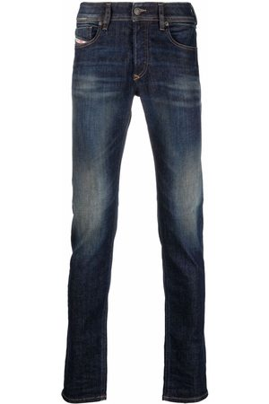 Diesel Men Straight - Logo-patch denim jeans