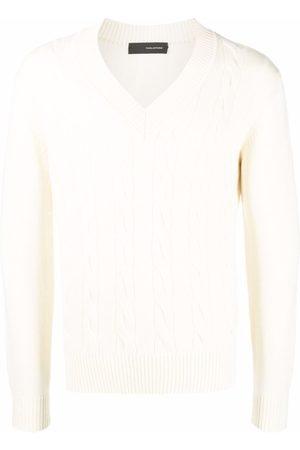 TAGLIATORE Cable-knit crewneck sweater - Neutrals