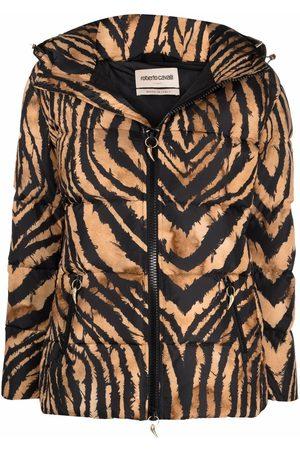 Roberto Cavalli Women Bomber Jackets - Tiger-print bomber jacket - Neutrals
