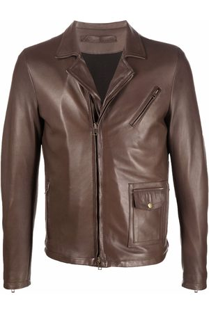 SALVATORE SANTORO Men Leather Jackets - Faux-leather short biker jacket