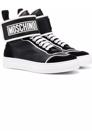 Moschino Kids Sneakers - Logo-patch high-top sneakers