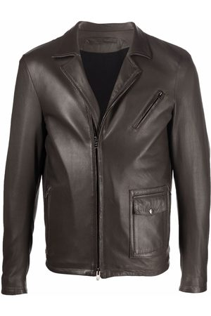 Salvatore Santoro Off-centre zip-front short leather jacket - Grey