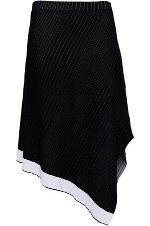 ST. JOHN Women Midi Skirts - Woman Asymmetric Pinstriped Ribbed Cotton Skirt Size L