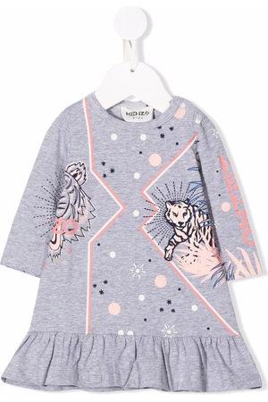 Kenzo Kids Baby Printed Dresses - Logo-print long-sleeved dress - Grey