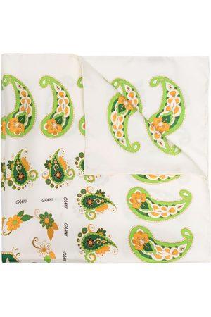 GANNI Paisley-print silk twill scarf - Neutrals