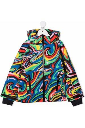 Stella McCartney Kids Abstract-pattern zip-up hooded jacket
