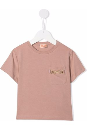 Elisabetta Franchi La Mia Bambina Embroidered-logo short-sleeved T-shirt