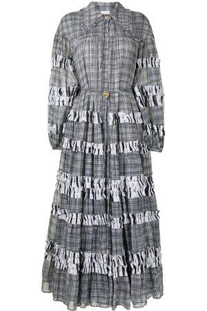 Aje Women Midi Dresses - Checked tiered midi dress