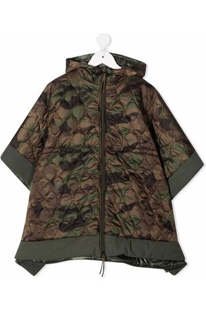 Il Gufo Girls Coats - Camouflage quilted poncho coat