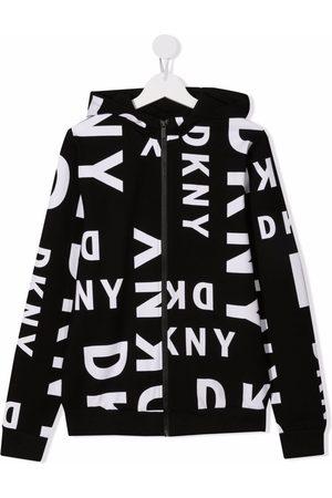 Dkny Kids TEEN logo-print zipped hoodie