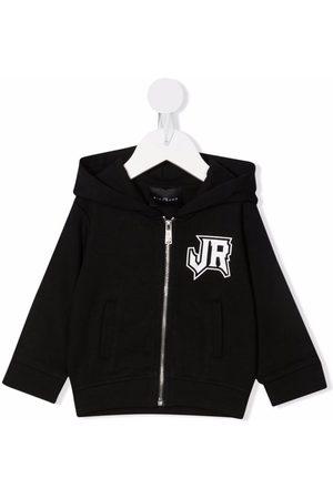 John Richmond Junior Hoodies - Logo lettering zip-up hoodie