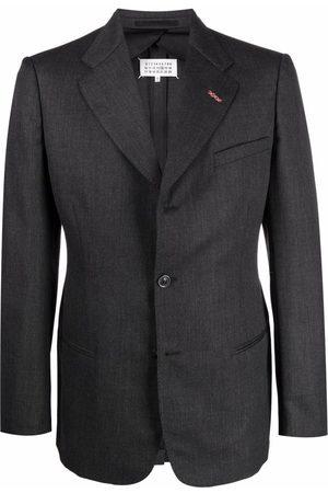 Maison Margiela Contrast-stitch single-breasted blazer - Grey