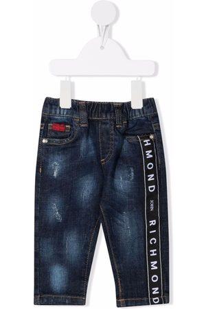 John Richmond Junior Jeans - Logo-tape distressed-finish jeans