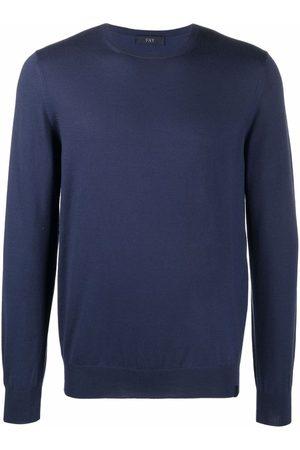 Fay Men Sweatshirts - Crewneck fine-knit wool jumper