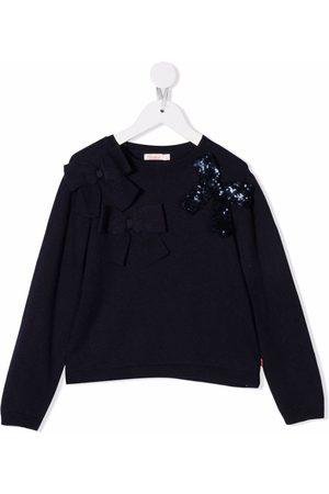 Billieblush Girls Sweatshirts - Bow embellishment sweatshirt