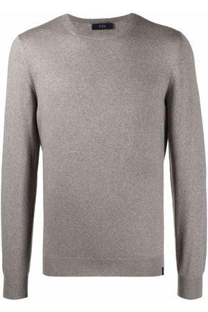 Fay Men Sweatshirts - Crewneck wool jumper - Neutrals