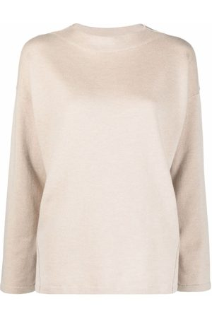 Gentry Portofino Drop-shoulder long-sleeved knitted top - Neutrals