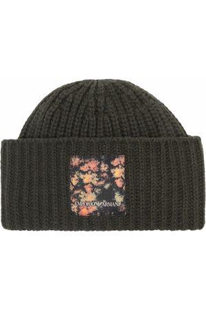 Emporio Armani Logo-patch ribbed-knit beanie