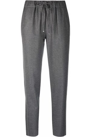 D.Exterior Drawstring wool-blend cropped trousers - Grey