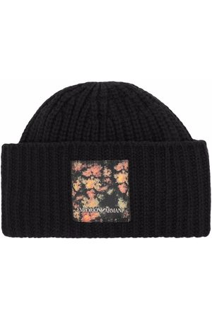 Emporio Armani Men Beanies - Logo-patch ribbed-knit beanie