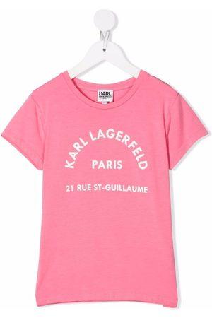 Karl Lagerfeld Kids Girls Short Sleeve - Logo-print short-sleeved T-shirt