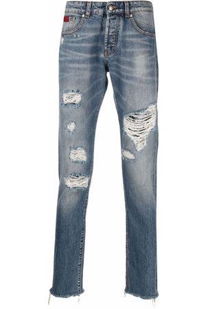 John Richmond Men Straight - Distressed-effect straight-leg jeans