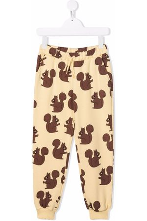 Mini Rodini Girls Sweatpants - Squirrel-print track pants