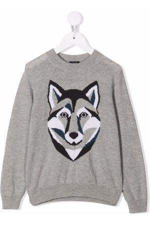 Il Gufo Fox-print wool sweater - Grey