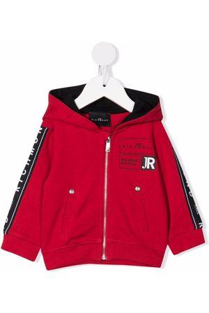 John Richmond Junior Hoodies - Logo print zip-up hoodie