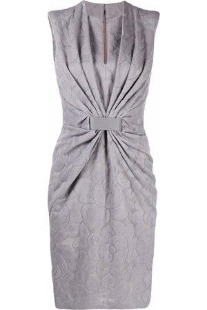 Giorgio Armani Gathered-detail sleeveless dress - Grey