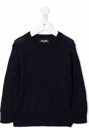 Dsquared2 Kids Boys Sweaters - Cable knit reindeer jumper