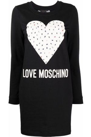 Love Moschino Women Printed Dresses - Heart-print sweatshirt dress
