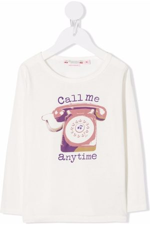 Bonpoint Girls Tops - Slogan embroidered top