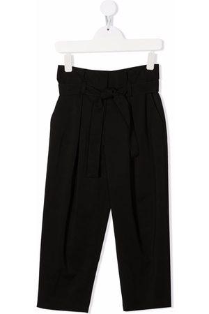 Emporio Armani Kids Girls Straight Leg Pants - Tied-waist straight trousers