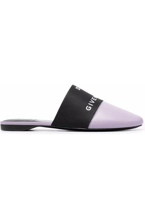 Givenchy Women Mules - Logo-print panelled leather mules