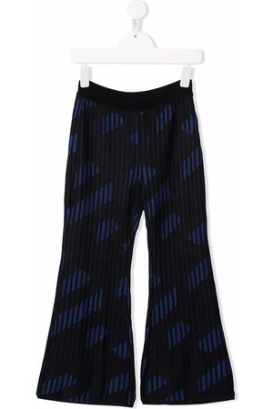 Versace Kids Ribbed flare-cuff trousers