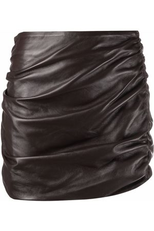Wandering Women Pencil Skirts - Ruched-leather pencil skirt