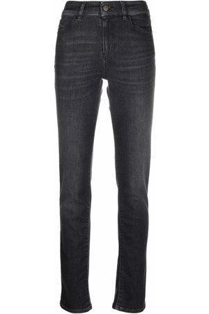 Emporio Armani Women Skinny - Logo-plaque detail jeans - Grey