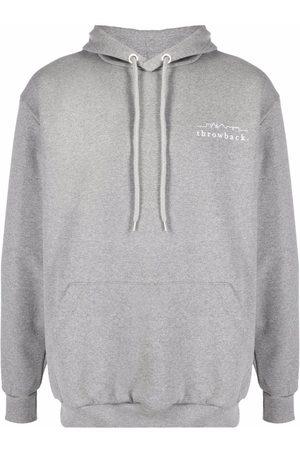 Throwback. Logo-print cotton hoodie - Grey
