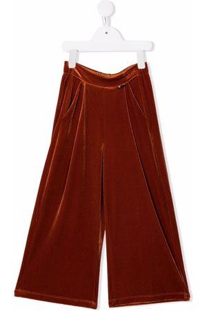 Molo Girls Wide Leg Pants - Velvet-effect wide-leg trousers