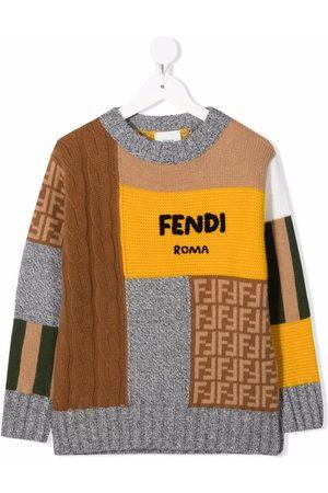 Fendi Boys Sweaters - Logo patchwork jumper - Grey