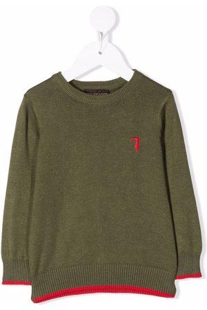 Trussardi Hoodies - Fine-knit embroidered-logo jumper